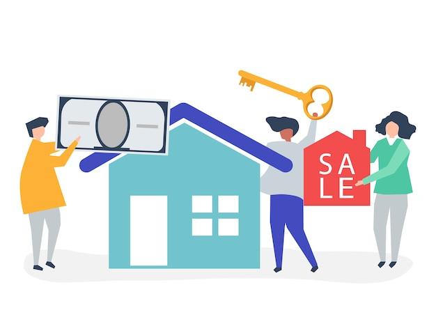 Ilustração de personagem de pessoas vendendo casa Vetor grátis