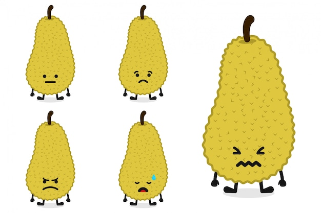 Ilustracao De Personagem Fruta Jaca Definido Para Expressao Triste