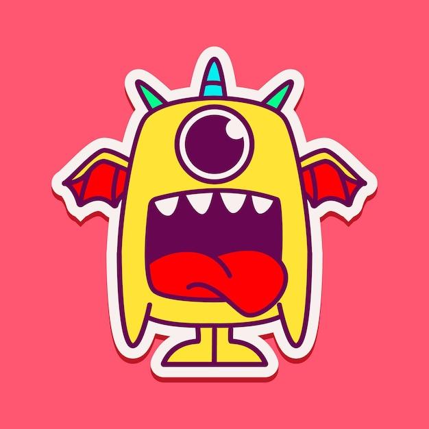 Ilustração de personagem monstro fofo Vetor Premium