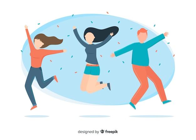 Ilustração de personagens coloridos pulando juntos Vetor grátis