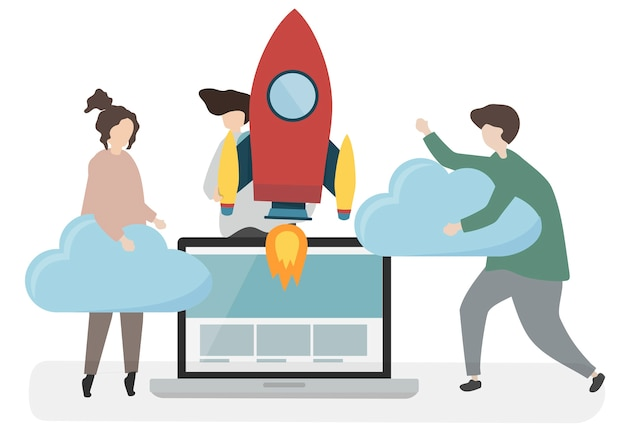 Ilustração de personagens com o conceito de tecnologia Vetor grátis