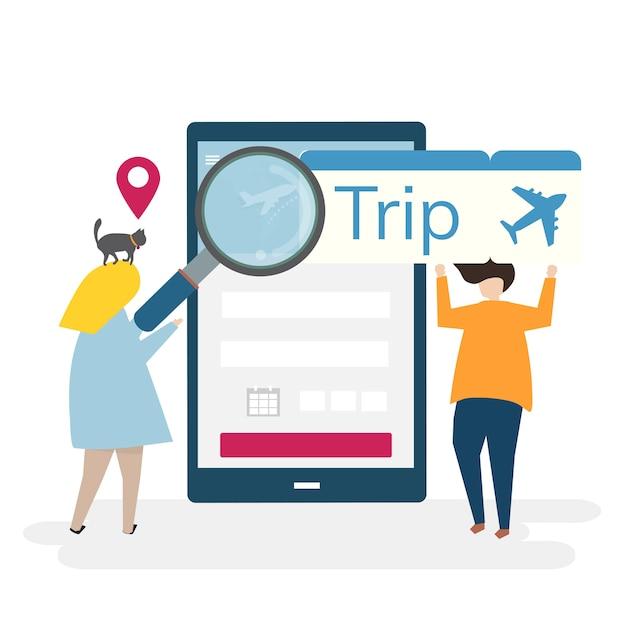 Ilustração de personagens com viagens e conceito de reserva on-line Vetor grátis
