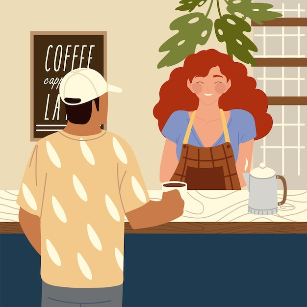 Ilustração de personagens de desenhos animados femininos de baristas e clientes de cafés Vetor Premium