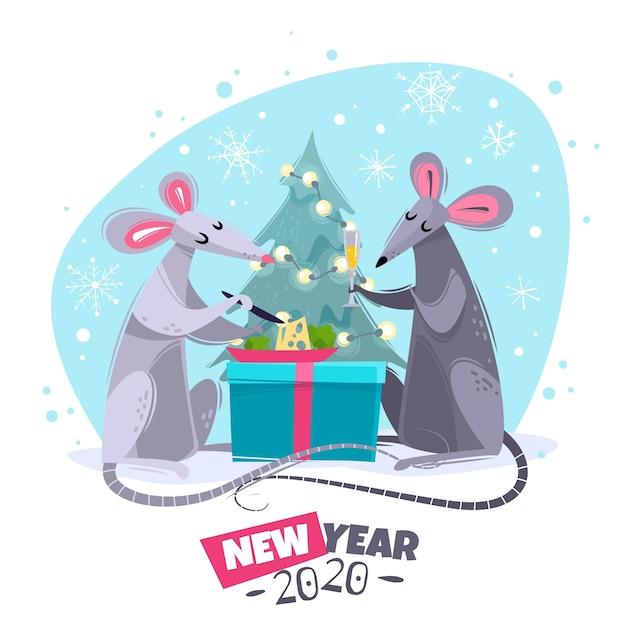 Ilustração de personagens de desenhos animados ratos ratos Vetor Premium