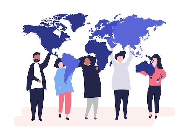 Ilustração de personagens de diversas pessoas e do mundo Vetor grátis