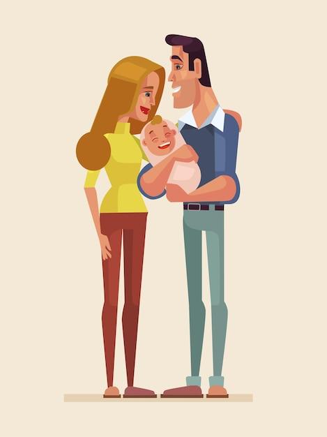 Ilustração de personagens de família feliz Vetor Premium