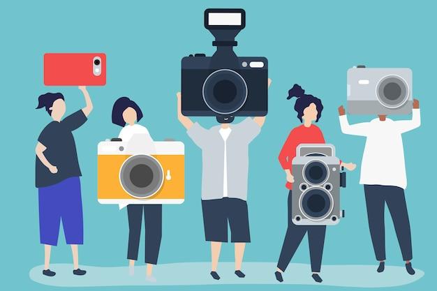 Ilustração de personagens de fotógrafos com câmeras Vetor grátis