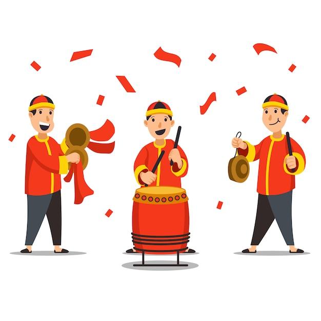 Ilustração de personagens de músico tradicional chinês Vetor Premium