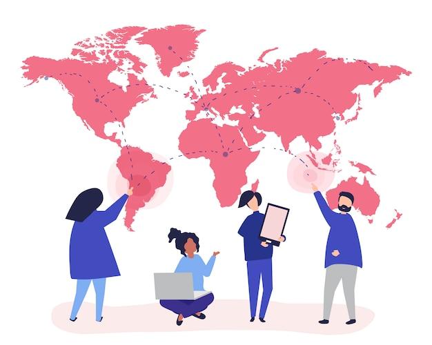 Ilustração de personagens de pessoas com o conceito de rede global Vetor grátis