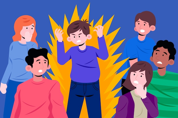 Ilustração de pessoa com raiva na multidão Vetor grátis
