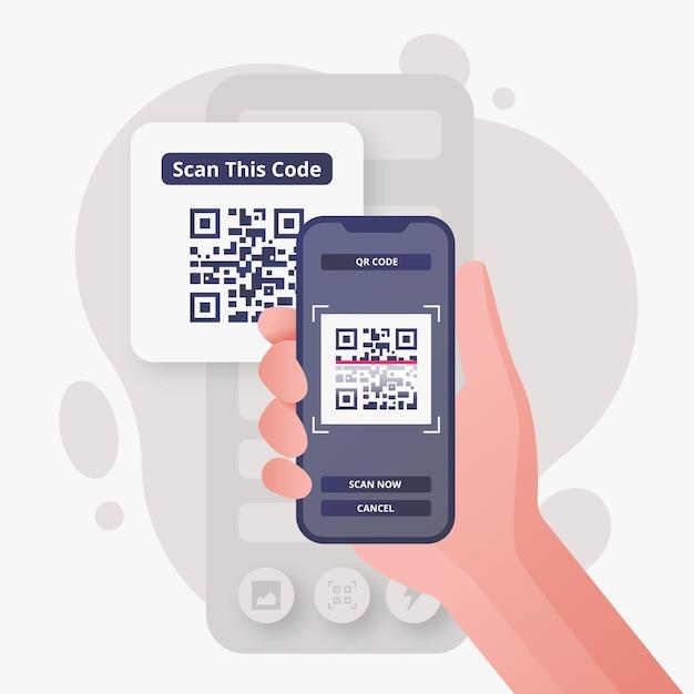 Ilustração de pessoa digitalizando um código qr com um smartphone Vetor grátis