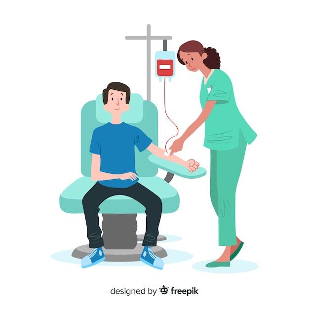 Ilustração, de, pessoa, doando sangue Vetor Premium
