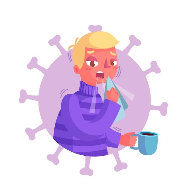 Ilustração de pessoa tosse Vetor Premium