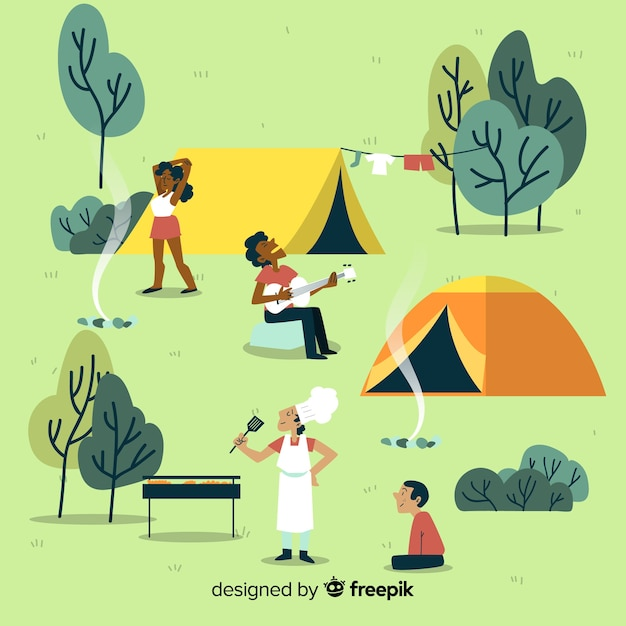 Ilustração de pessoas acampando Vetor grátis