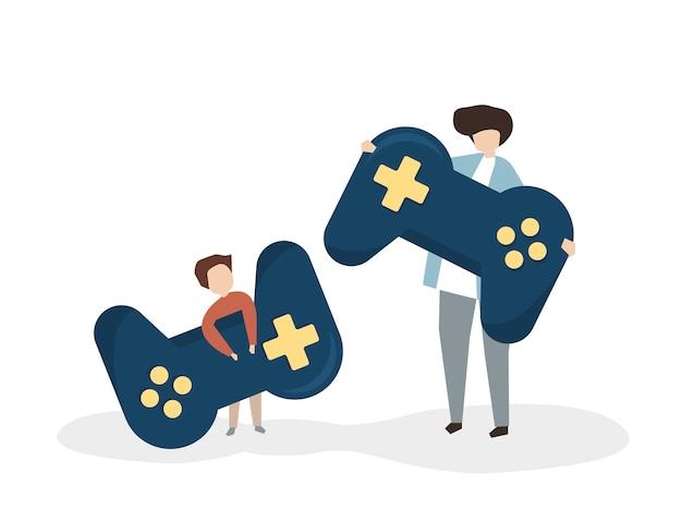 Ilustração, de, pessoas, com, um, joystick Vetor grátis