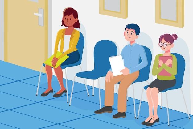 Ilustração de pessoas de design plano esperando para entrevista de emprego Vetor grátis