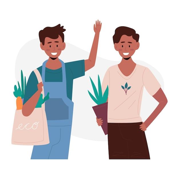 Ilustração de pessoas de estilo de vida verde Vetor grátis