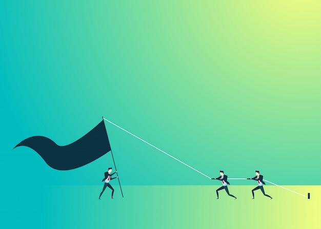 Ilustração de pessoas de negócios do trabalho em equipe levantar a bandeira Vetor Premium