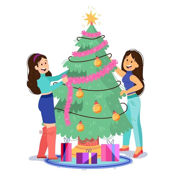 Ilustração de pessoas decorando a árvore Vetor grátis