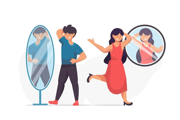 Ilustração de pessoas diferentes com auto-estima elevada Vetor grátis