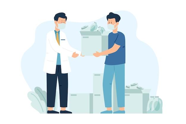 Ilustração de pessoas doando material sanitário em tempo de quarentena Vetor Premium