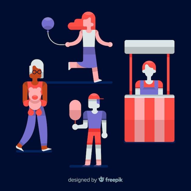 Ilustração de pessoas em uma feira de noite Vetor grátis