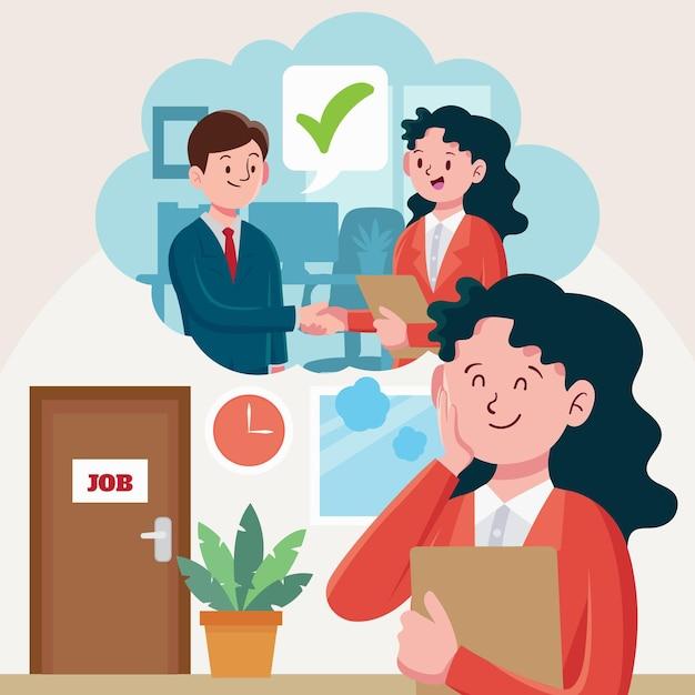 Ilustração de pessoas esperando para entrevista de emprego Vetor grátis