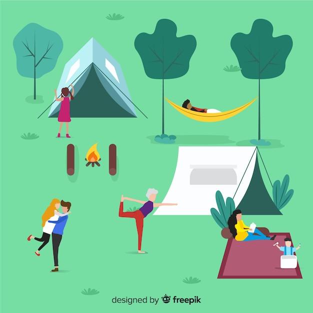 Ilustração, de, pessoas, fazendo, acampamento Vetor grátis