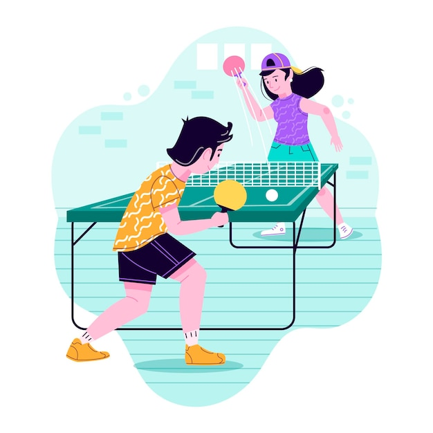 Ilustração de pessoas jogando tênis de mesa Vetor grátis