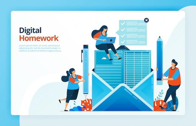 Ilustração de pessoas que fazem trabalhos de casa digitais por e-mail, futuro do ensino a distância, cursos na internet. Vetor Premium