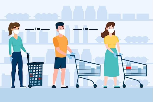 Ilustração de pessoas que ficam em uma fila no supermercado Vetor grátis