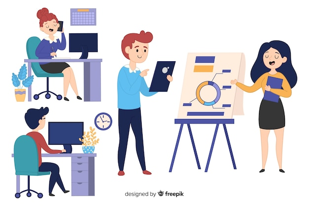 Ilustração, de, pessoas, trabalhando, em, escritório Vetor grátis
