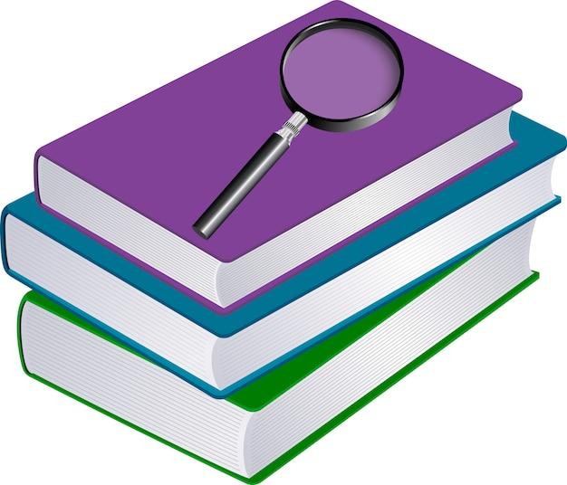 Ilustração, de, pilha livros, com, magnifier Vetor Premium