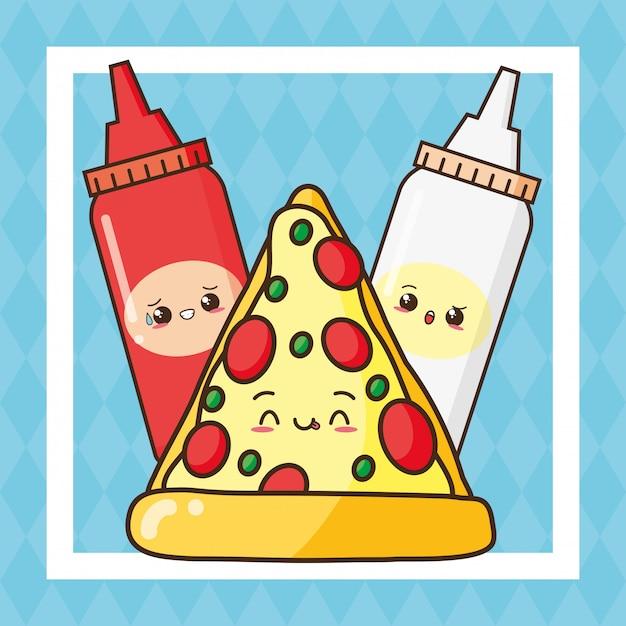 Ilustração de pizza e molhos bonito de fast-food kawaii Vetor grátis