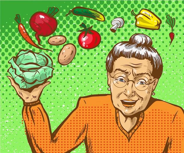 Ilustração de pop art de mulher madura com legumes Vetor Premium