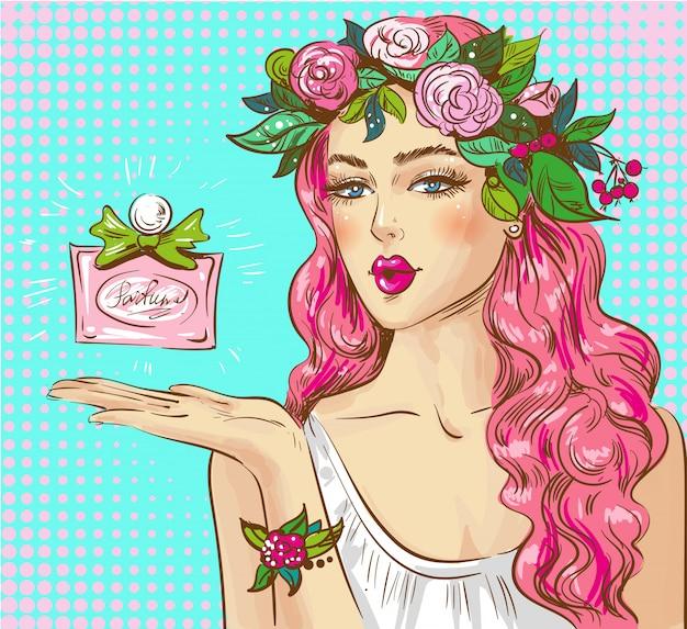 Ilustração de pop art de perfume de publicidade de mulher Vetor Premium