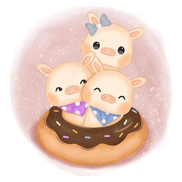 Ilustração de porcos bebê adorável para decoração de berçário Vetor Premium