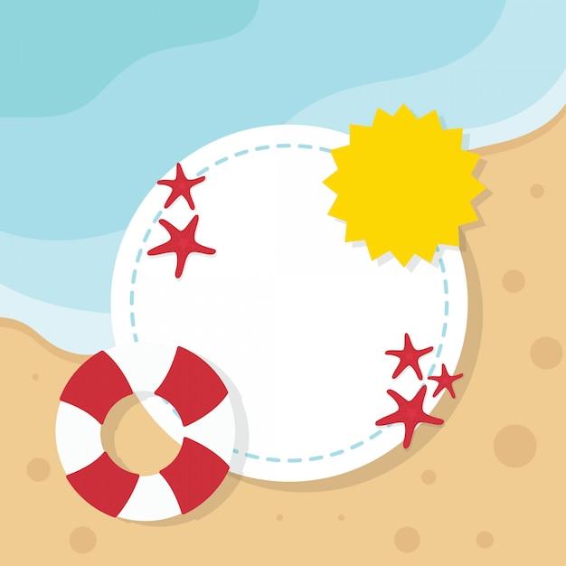 Ilustração de praia verão com moldura e copyspace Vetor Premium