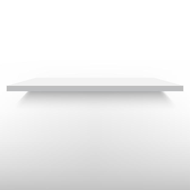 Ilustração de prateleira branca vazia isolada contra uma parede Vetor Premium