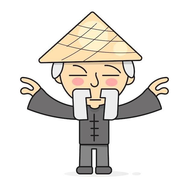 Ilustração de práticas de cura do corpo oriental de meditação de qigong Vetor Premium