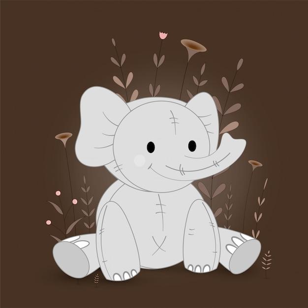 Ilustração de presente com elefante dos desenhos animados Vetor Premium