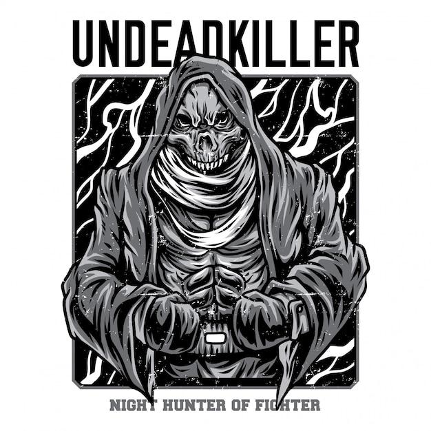 Ilustração de preto e branco de assassino de mortos-vivos Vetor Premium