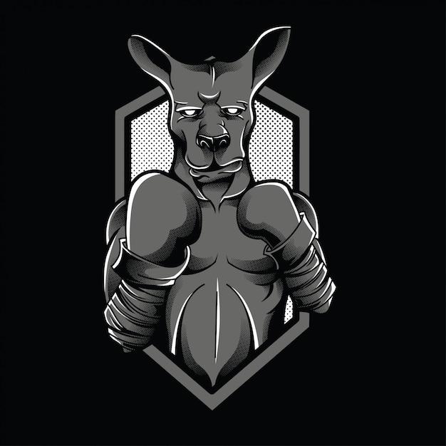 Ilustração de preto e branco de lutador de canguru Vetor Premium
