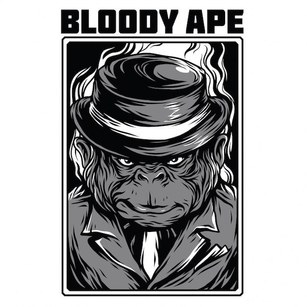 Ilustração de preto e branco de macaco sangrento Vetor Premium