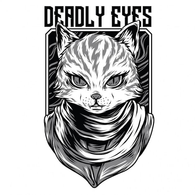 Ilustração de preto e branco de olhos mortais Vetor Premium