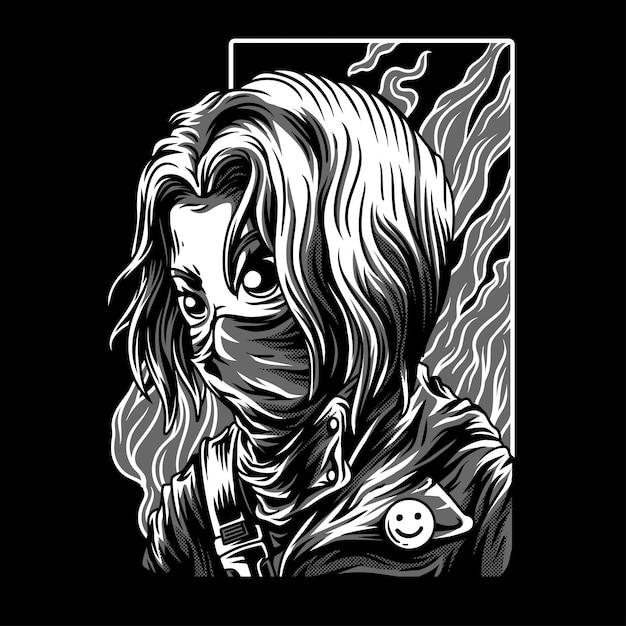 Ilustração de preto e branco de vermelho girl Vetor Premium