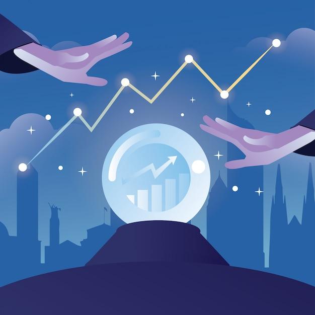 Ilustração de previsão de mercado com bola de cristal e mão mágica com forma de construção de cidade como pano de fundo Vetor Premium