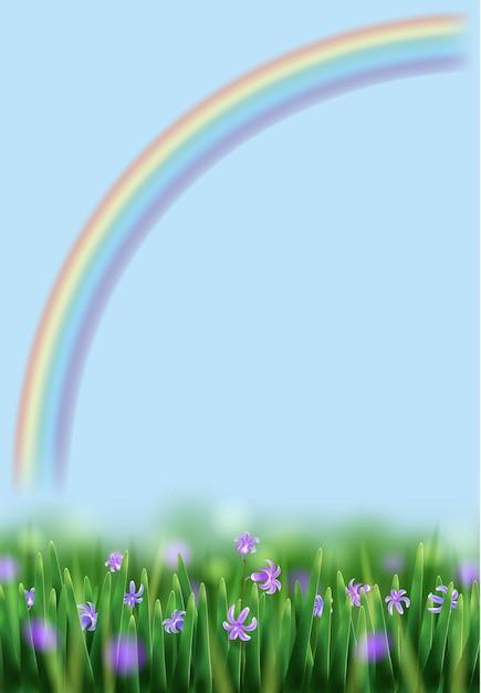 Ilustração de primavera com arco-íris, prado e flores Vetor Premium