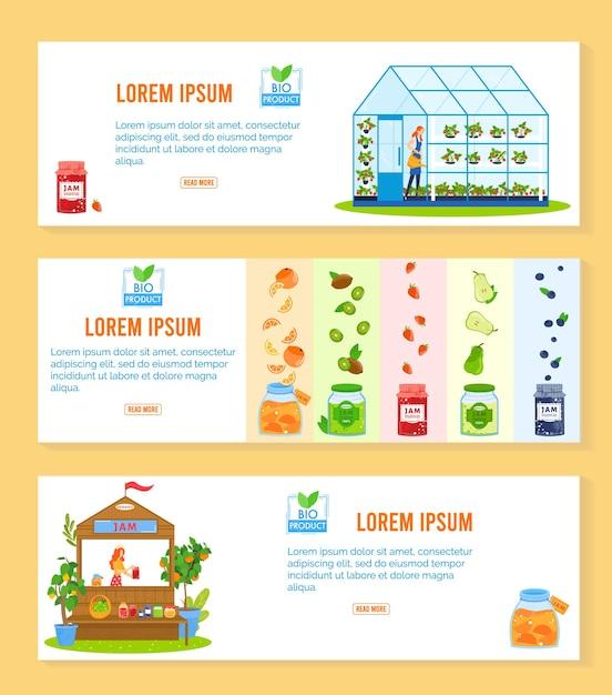 Ilustração de produto de compota de fruta. Vetor Premium