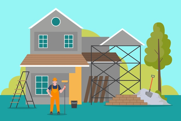 Ilustração de profissões domésticas e de renovação Vetor grátis